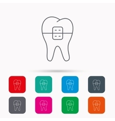 Dental braces icon Tooth healthcare sign vector