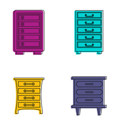 drawers icon set color outline style vector image