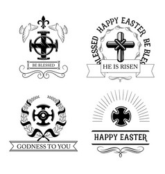 Easter cross symbol set with religious crucifix vector