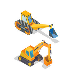 Excavator and bulldozer industrial machinery icons vector
