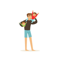 exhausted father holding two little cheerful kids vector image
