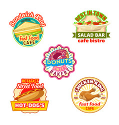 Fast food restaurant donut shop cafe bistro icon vector