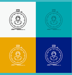 Fast speed stopwatch timer girl icon over various vector