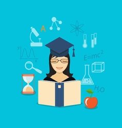 flat elements of education with girl vector image vector image