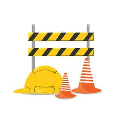 Flat under construction and helmet vector