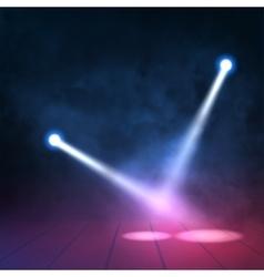 Floodlights spotlights illuminates wooden scene vector