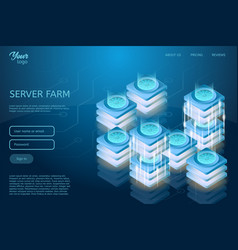 futuristic design of web hosting and data center vector image