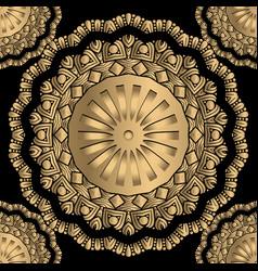 Gold floral 3d mandalas seamless pattern lace vector