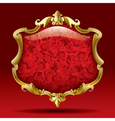 Gold frame with roses vector
