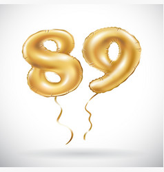 Golden number 89 eighty nine metallic balloon vector