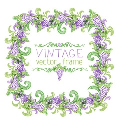 Grapes square frame vector image