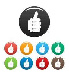 hand approval icons set color vector image