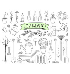 Hand drawn garden tools set vector