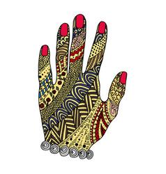 hand zen tangle doodle arm vector image