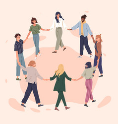 Happy people holding hands together flat vector