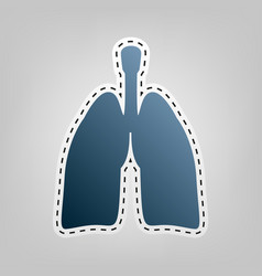 human anatomy lungs sign blue icon with vector image