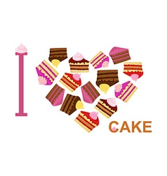 I love cake Symbol heart of pieces of cake vector image