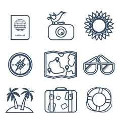 Icons of travel summer in the flat line style vector image