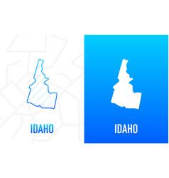 Idaho - us state contour line in white and blue vector
