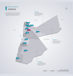 Jordan map with infographic elements pointer marks vector