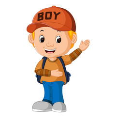 Kids boy with backpacks vector