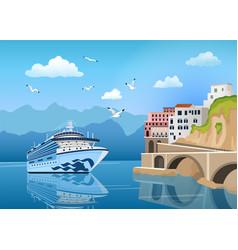 landscape with cruise ship near coast vector image