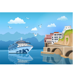 landscape with cruise ship near coast with vector image