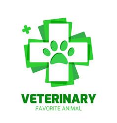 logo pharmacy for animals cross vector image