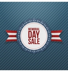 Memorial Day Sale realistic Emblem and Ribbon vector image