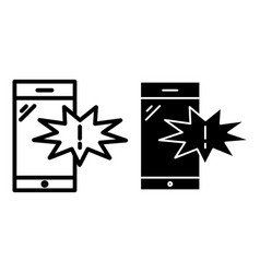 Mobile phone with exclamation mark line and glyph vector
