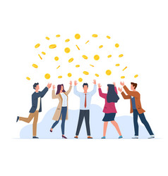 money rain happy people in business suits vector image
