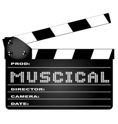 musical movie clapperboard vector image