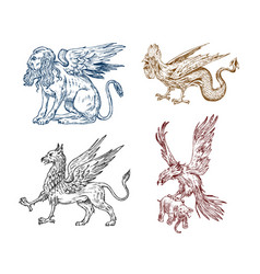 Mythological animals sphinx griffin mythical vector
