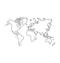Outline of world map on white background vector