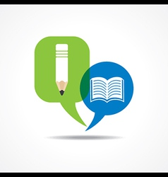 Pencil and book icon in message bubble vector image