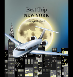 plane flying over new york city at night vector image