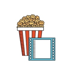 pop corn with cinema icon vector image