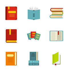 Reading and learning icons set flat style vector