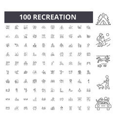 Recreation line icons signs set outline vector