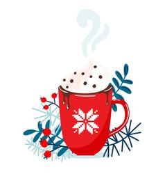 red mug with christmas hot chocolate or coffee vector image