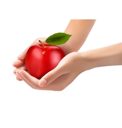 Red ripe apple in a hands Concept of diet vector image