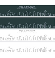 Rio de janeiro single line skyline banner vector