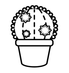 Round cactus icon outline line style vector