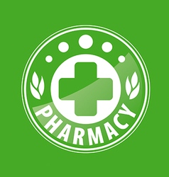 Round logo for pharmacies on a green background vector image vector image
