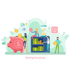 Saving account piggy for money collecting vector