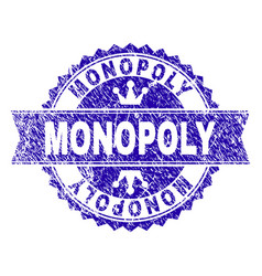Scratched textured monopoly stamp seal with ribbon vector