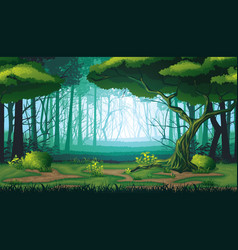 Seamless background of landscape with deep forest vector