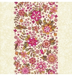 Seamless floral pattern with a bird and flowers vector image