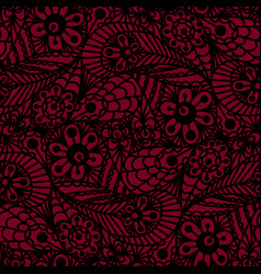 seamless flower paisley lace pattern on red vector image