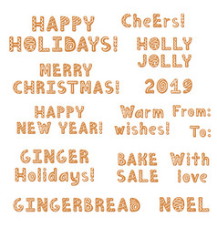 set christmas gingerbread cookies lettering vector image